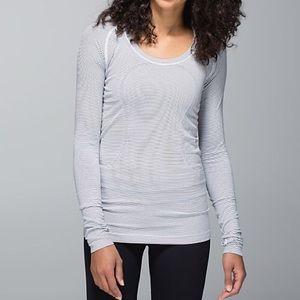 lululemon athletica Tops - Lululemon Run: Swiftly Tech Hyper Stripe White 6